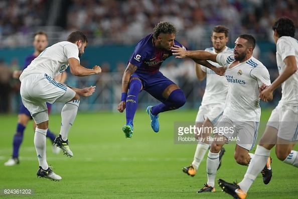 A última partida de Neymar pelo Barcelona, foi contra o grande arquirrival Real Madrid, em amistoso de pré-temporada, nos Estados Unidos.