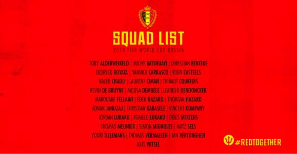 A ausência de Radja Nainggolan da lista final de Roberto Martínez, foi a única surpresa da seleção belga.