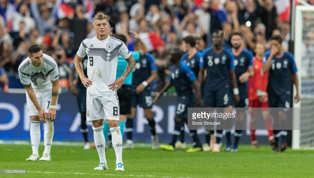 11,1%, esse é o aproveitamento da Alemanha na Liga das Nações da UEFA. Os alemães colecionam um empate e duas derrotas em três partidas realizadas pelo torneio.