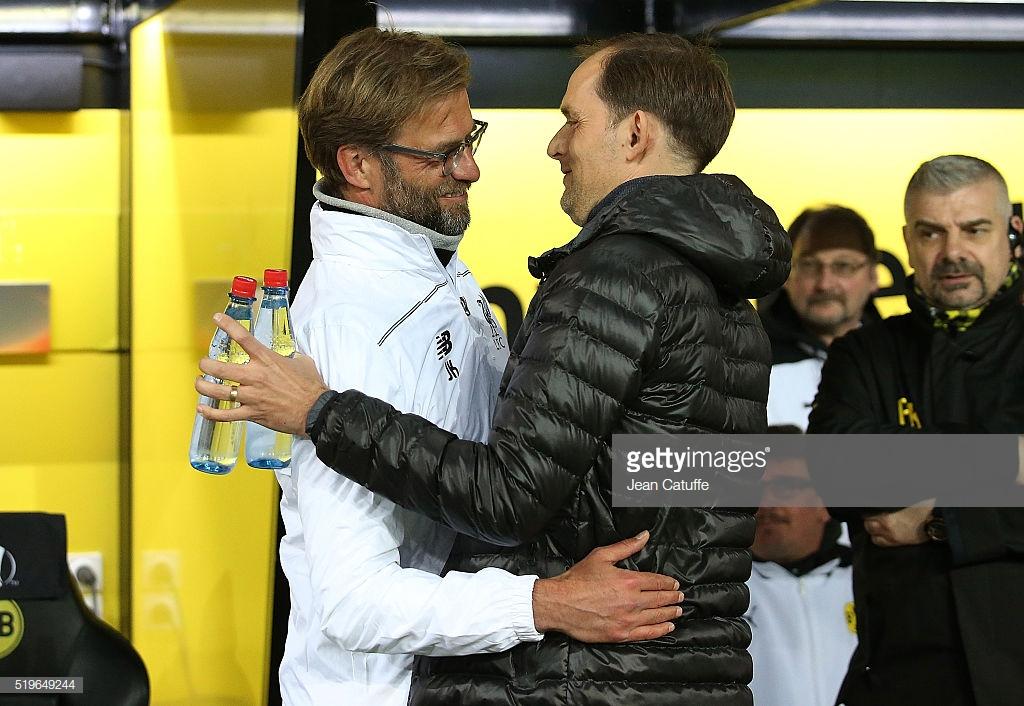 A cria e criador: discípulo de Jurgen Klopp, o técnico do PSG, Thomas Tuchel, enfrentará o seu inspirador pela segunda vez na carreira.