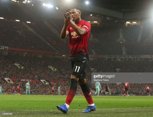 O francês Anthony Martial é o artilheiro do Manchester United na Premier League com 7 tentos marcados.