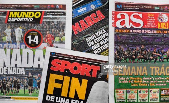 Jornais espanhóis destacam em suas capas, o vexame do Real Madrid. Assim amanheceu o tricampeão europeu no dia de seu aniversário de 117 anos.