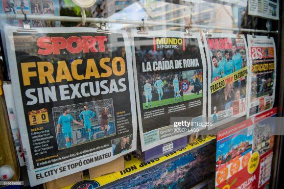 As capas de jornais expuseram claramente o que significou a eliminação do Barcelona diante da Roma na temporada passada.