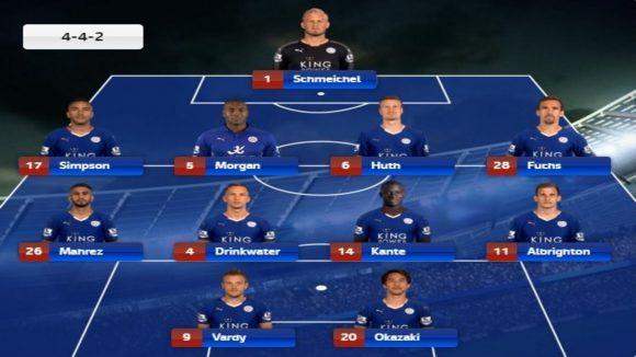 Leicester 2015/16: Schmeichel; Simpson, Huth, Morgan e Fuchs; Mahrez, Kanté, Drinkwater e Albrighton; Okazaki e Vardy. Técnico: Claudio Ranieri.