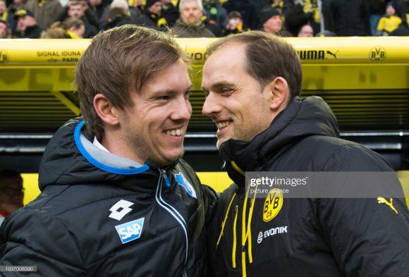 Julian Nagelsmann e Thomas Tuchel, o seu técnico na época em que ele atuava pelo Augsburg, e que posteriormente, tornou-se o seu grande inspirador.