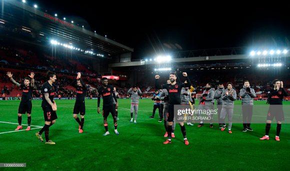 Feito histórico: o Atlético Madrid quebrou o tabu de 42 partidas sem derrotas do Liverpool em Anfield (37 vitórias e cinco empates).