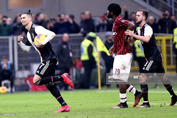 No jogo de ida, o Milan até saiu na frente do placar com um gol do croata Ante Rebic, mas nos acréscimos da partida, Cristiano Ronaldo igualou o marcador através de uma penalidade.